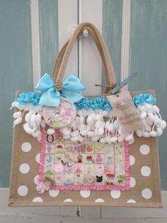 "Hand embroidered whimsical sampler ""Keep Calm and Sew On"" tote bag"