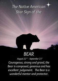 Native American Star Sign Zodiac August 22 - Sept 21 Sign of the Bear card. Personalize any greeting card for no additional cost! Cards are shipped the Next Business Day. Native American Zodiac Signs, Native American Pictures, Native American Symbols, American Indians, Spirit Bear, Spirit Animal, Native American Spirituality, Bear Card, Daily Inspiration Quotes