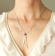 Art Deco Bow Collar Necklace- Sterling Silver Triangle Red Garnet Necklace, $80.00