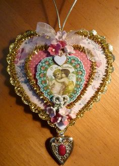 Victorian Heart Valentine Ornament by twojackmama on Etsy, $7.00