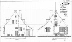 Cajus Novi, arkitekten med Havneslottet i Stege, tegnede også sit eget hus i 1924. Vingaards Allé 34, Hellerup. Tegning fundet på https://www.weblager.dk/