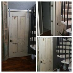 Just finished and installed this slider door made from a salvaged old door.