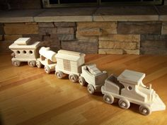 Handmade Wooden Freight Train Toy