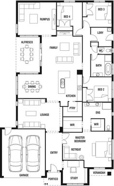 Several good ideas here worth copying. House Design: Mantra - Porter Davis Homes New House Plans, Dream House Plans, Small House Plans, House Floor Plans, Home Design Floor Plans, Plan Design, New Home Designs, Cabin Plans, House Layouts