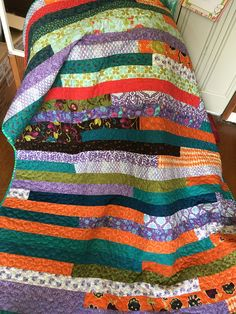 The latest addition to my #etsy shop: Super Bright Strip Quilt, Lap Quilt, Orange Purple Green, Jelly Roll Race, Colorful Sofa Throw, Lap Blanket, Patchwork Quilt, Cotton Quilt http://etsy.me/2DGuhMj #housewares #bedroom #bedding #orange #yes #adult #p