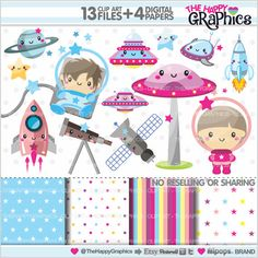Space Clipart, Space Graphics, COMMERCIAL USE, Kawaii Clipart, Cute Clipart, Space Kids, Planner Accessories, Astronaut Clipart, Rocket