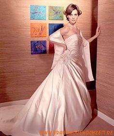 2012 neues schönes Brautkleid aus Taft mit Blumen Bodenlang Trägerlos