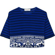 Emilio Pucci Cropped knitted top (€370) ❤ liked on Polyvore featuring tops, crop top, shirts, blusas, royal blue, royal blue top, loose crop top, blue top, emilio pucci shirt and loose fitting shirts