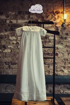 Dove #christening gown. Elegant design with a square collar  http://www.bellebebe.co.uk/