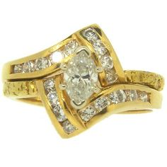 Women's Custom Alaskan Gold Nugget and Marquise Diamond Wedding Ring. Style#: GRW270 - Gold Nugget Jewelry by Alaskan Gold Rush Fine Jewelry - Fairbanks, Alaska - 907-456-4991 - Call for price and availability.
