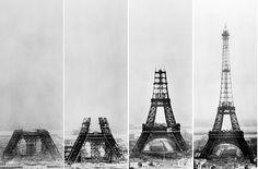De Eiffeltoren in aanbouw