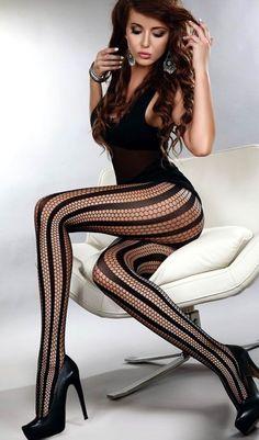 Corsetti - Degana - Elegant Net and Stripe Tights