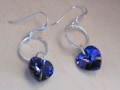 Sterling Silver Circle and Heart Crystal Earrings by LadyInPurple, $14.00