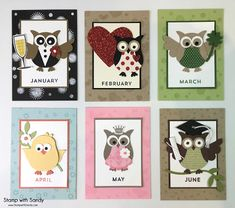 Stamp with Sandy: Owl Punch Fridge Magnets, Jan - June, Stampin Up Scrapbooking, Scrapbook Cards, Scrapbook Albums, Owl Punch Cards, Paper Punch Art, Owl Card, Candy Cards, Bird Cards, Animal Cards