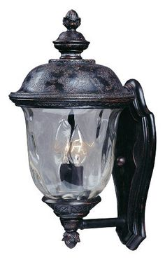 Maxim Lighting 3422WGOB Carriage House DC 2-Light Straight Mount Outdoor 16-Inch Wall Lantern, Oriental Bronze Finish by Maxim Lighting. $79.97. From the Manufacturer                The Maxim Lighting 3422WGOB Carriage House DC Collection 2-light Outdoor Wall Lantern is made of die cast aluminum and finished in an oriental bronze while being paired with a beautiful water glass shade. It will complement your transitional decor and provide years of satisfaction with the it...