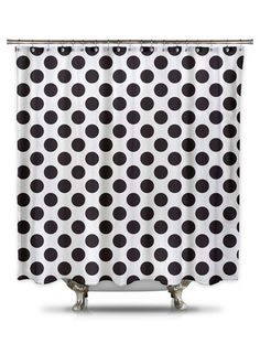This white shower curtain with black polka-dots will give your bathroom a modern but classic look. And what is great about white and black: any color on the walls will do! 100% woven polyester The fab
