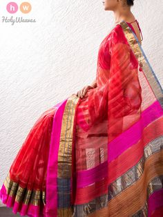 Red Hand-Painted Kota Silk Saree – HolyWeaves