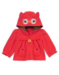 A sweet owl for your little girl. Play around in our darling hooded cardigan. Complete with 3-D ears, cute ruffle and flower zipper pull.