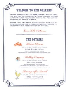 CW Designs New Orleans Style Itinerary to Match Wedding Welcome Map
