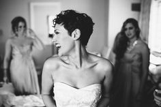Love this! A bride with short hair. You don't need extensions for your big day! Rock the pixie!