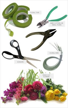 Materials needed for DIY bouquet and DIY floral crown. Step by step directions here: http://www.weddingchicks.com/2014/05/28/3-garden-rose-diys-youll-love-from-blue-jar-events/