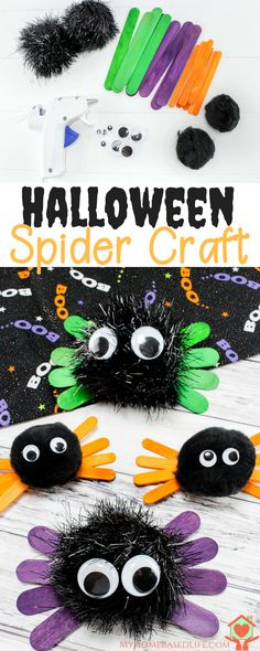 Very easy and quick Halloween Craft for kids. Halloween Spider Kids Craft. #halloween #craftsforkids via @myhomebasedlife