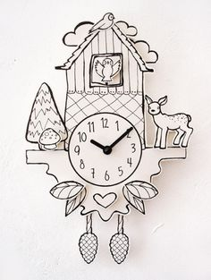 it`s hip to be square :)  working cuckoo clock with quarz-clockwork, made of printed paper, Kapa®-graph, natural glue  the clock is designed spacious, some elements are placed in the front, others...