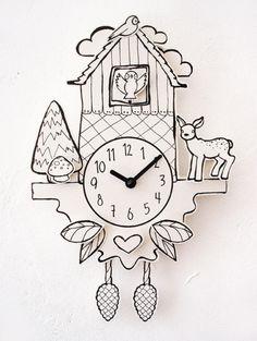 Relojes - paper cuckoo! clock ++ working clock++ - hecho a mano por hellopetie en DaWanda