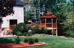 Large Elevated Wood Gazebo with Attached Deck