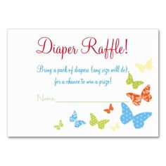 Butterfly Kisses Baby Shower Diaper Raffle Tickets Large Business Cards (Pack Of 100)