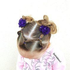 """elastic braids into messy bun pigtails , cute one for #gymnastics """