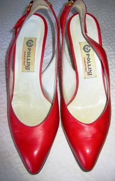 POLLINI RED & GOLD METAL ACCENTED SLING BACK SHOES!