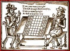 woodcut of two men playing chess; renaissance