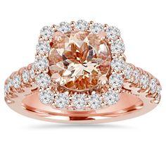 Bliss 14k Rose Gold 1 ct TDW Morganite and Diamond Cushion Halo Engagement Ring