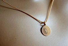 Hebrew Initials Gold necklace stamped by MonicaDesignsJewelry, $10.00