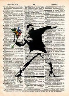 Banksy Flower Bomber, street art, vintage dictionary page book art print - - 1 Art Banksy, Bansky, Et Tattoo, Dictionary Art, Guache, Silhouette Art, Street Art Graffiti, Street Artists, Urban Art