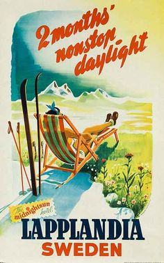 DP Vintage Posters - Lapplandia Sweden 2 Months Nonstop Daylight Original Travel Poster