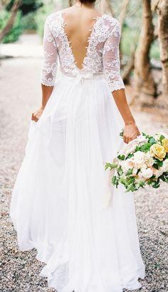 2016 A-line Wedding Dresses Lace Top 3/4 Long Sleeves V Neck Open Back Elegant…