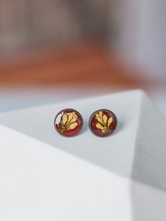 Studs  with white buds by crystalMystery on Etsy