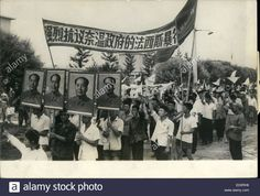 1967 maoist demonstrators in cultural revolution in china stock