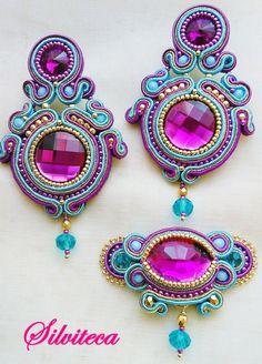 IMG_20170513_161733 | Silviteca - Bisuteria y complementos Bead Embroidery Jewelry, Fabric Jewelry, Beaded Embroidery, Beaded Jewelry, Soutache Pendant, Soutache Necklace, Shibori, Diy Earrings, Crochet Earrings