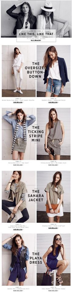 Madewell email design / site experience