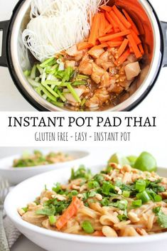 The easiest and most delicious Instant Pot Pad Thai, made in less than 30 minutes! pot recipes thai Instant Pot Pad Thai - Gluten Free - The Bettered Blondie Cooking Recipes, Healthy Recipes, Healthy Food, Crockpot Recipes Gluten Free, Instapot Vegan Recipes, Healthy Pad Thai, Steak Recipes, Potato Recipes, Ramen Recipes