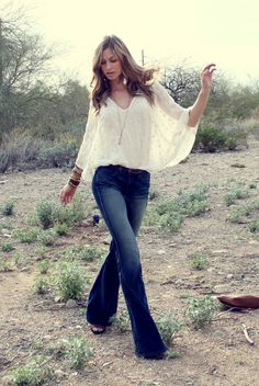 Flowy top, flared jeans