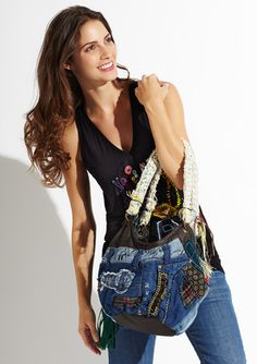 Just bought this cute denim patchwork hobo by Desigual