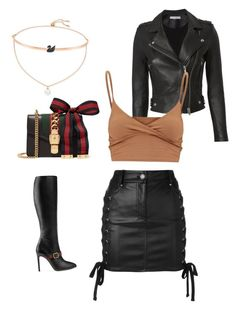 """""""The black swan"""" by bryttanik ❤ liked on Polyvore featuring Gucci, Swarovski, IRO and Versus"""