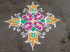 colourfull kambi kolam 7 pulli 1 7-1 stright line dotted kolam… and I have added colours for enhancement. Hope it looks good………….