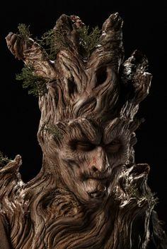 """Twisted Trees"": Close-up of Doc and Jason's makeup, inspired by a Bristlecone Pine tree that's been hit by lightning."