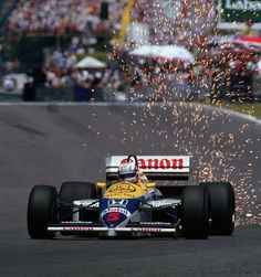 Nigel Mansell (Canon Williams Honda Team) at the 1986 Canadian Grand Prix at Montreal ""