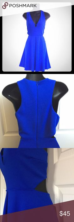 Gorgeous express blue party cocktail dress Dress features: bright royal blue color, fit and flare style, deep v cut neckline, lined upper, small cut out at waist, pleat over mid section for camouflage of imperfections, hidden back zip, new with tags, has stretch polyester and spandex blend, size 10. Perfect for upcoming holiday parties or hot date night! Express Dresses